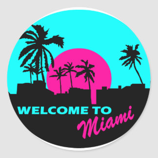Cool Welcome to Miami design Classic Round Sticker