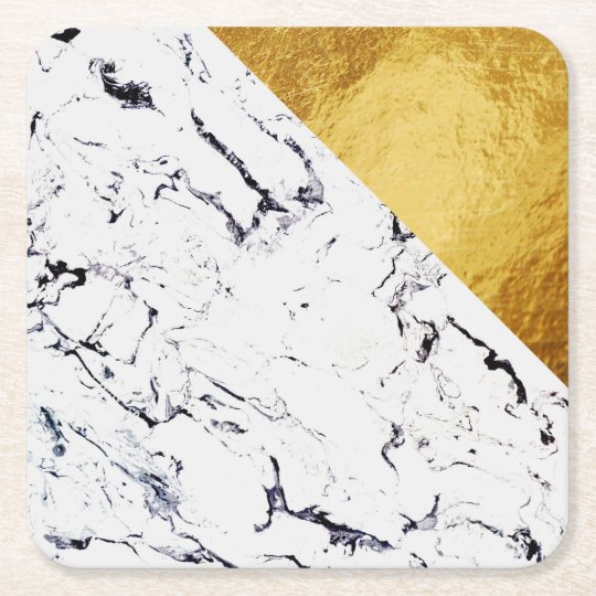 Cool White Marble with Gold Foil Square Paper