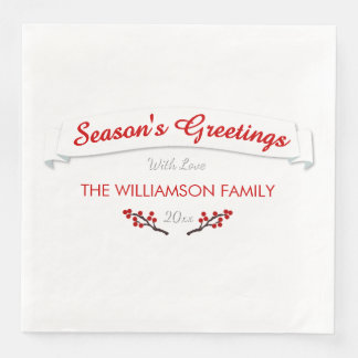 Cool White Season's Greetings Winterberries Disposable Serviette