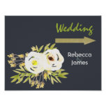 COOL WHITE & YELLOW FLORAL WEDDING DIRECTION POSTER