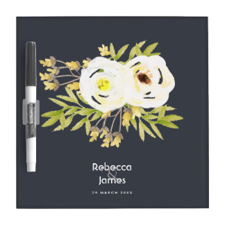 COOL WHITE & YELLOW WATERCOLOR FLORAL MONOGRAM Dry-Erase BOARDS
