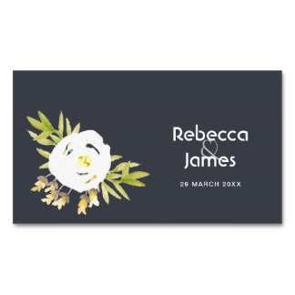 COOL WHITE & YELLOW WATERCOLOR FLORAL MONOGRAM Magnetic BUSINESS CARD
