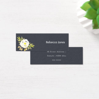 COOL WHITE & YELLOW WATERCOLOR FLORAL MONOGRAM MINI BUSINESS CARD