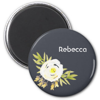 COOL WHITE & YELLOW WATERCOLOR FLORAL Personalised 6 Cm Round Magnet
