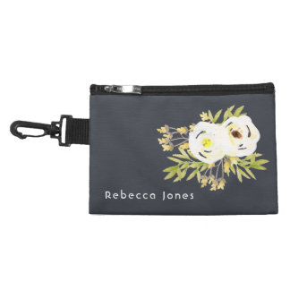 COOL WHITE & YELLOW WATERCOLOR FLORAL Personalised Accessories Bags