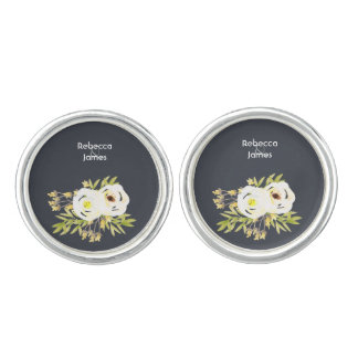 COOL WHITE & YELLOW WATERCOLOR FLORAL Personalised Cuff Links