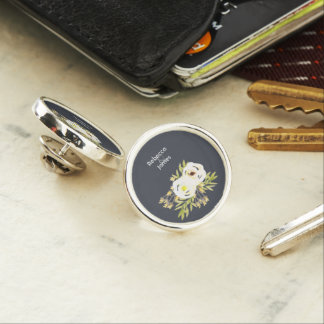 COOL WHITE & YELLOW WATERCOLOR FLORAL Personalised Lapel Pin