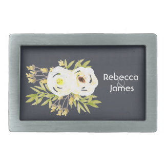 COOL WHITE & YELLOW WATERCOLOR FLORAL Personalised Rectangular Belt Buckle