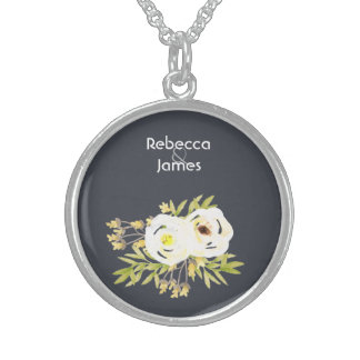 COOL WHITE & YELLOW WATERCOLOR FLORAL Personalised Sterling Silver Necklace