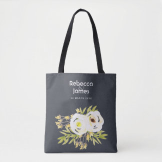 COOL WHITE & YELLOW WATERCOLOR FLORAL Personalised Tote Bag