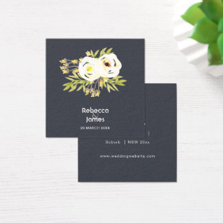 COOL WHITE & YELLOW WATERCOLOUR FLORAL Wedding Square Business Card