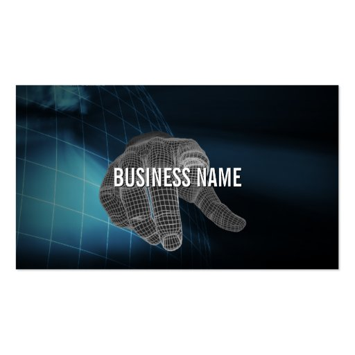 Cool Wireframe Finger Touch QR Code Business Card