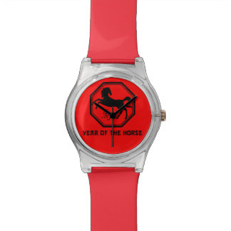 Cool Year of the Horse Wristwatch in Red and Black