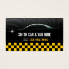 Cool Yellow Chequered Car & Van Hire Business Card