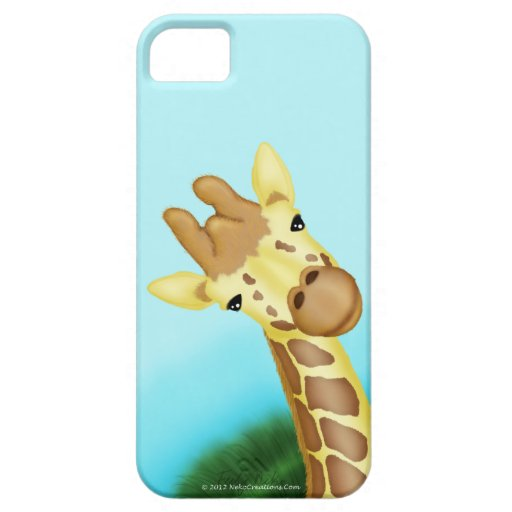 Cool Yellow Giraffe On Blue Background iPhone 5 Case
