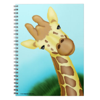Cool Yellow Giraffe On Blue Background Spiral Notebook