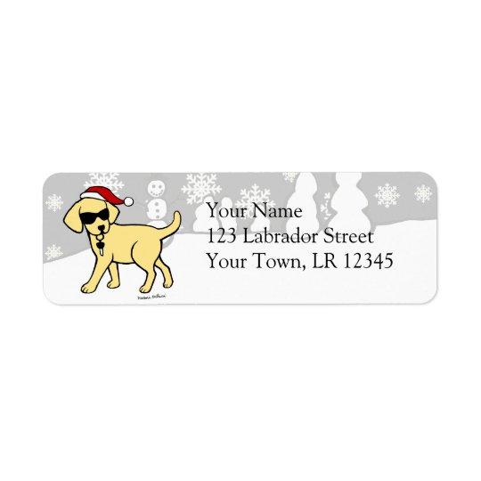 Cool Yellow Lab Cartoon Christmas Return Address Label