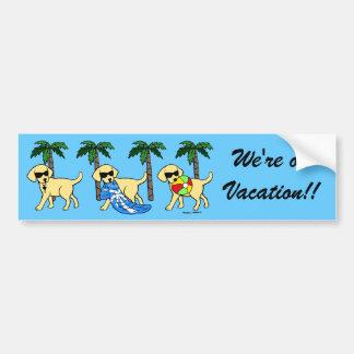 Cool Yellow Labradors Cartoon Bumper Sticker
