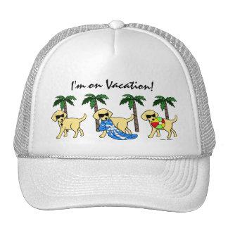 Cool Yellow Labradors Cartoon Mesh Hats