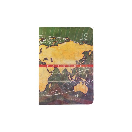 cool yellow world map with name, travel passport