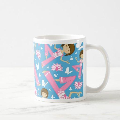 Cool Yoga Girl Pattern Mugs