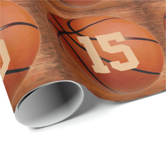 Cool Your JERSEY NUMBER Basketball Wrapping Paper