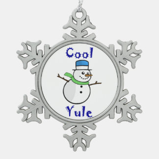 Cool Yule Snowman in Blue Top Hat Pewter Snowflake Decoration