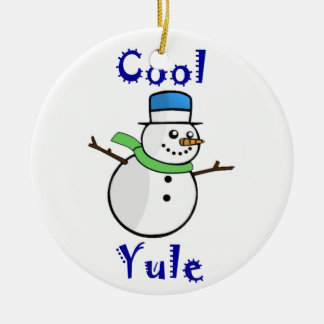 Cool Yule Snowman in Blue Top Hat Round Ceramic Decoration
