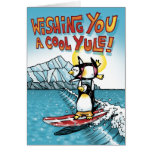 Cool Yule Tandem Surfing Hawaiian Penguins Greeting Card