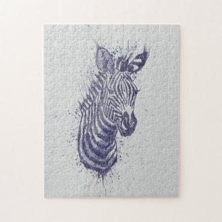 Cool zebra animal watercolour  splatters paint jigsaw puzzle