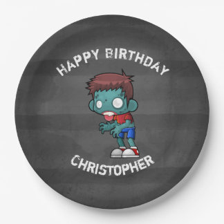 Cool Zombie Guy Seeking Brains Happy Birthday 9 Inch Paper Plate