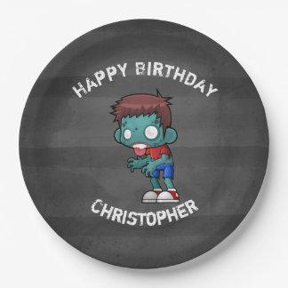 Cool Zombie Guy Seeking Brains Happy Birthday Paper Plate