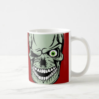 Cool Zombie skull face with a missing eye, Basic White Mug
