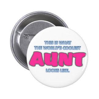 Coolest Aunt 6 Cm Round Badge