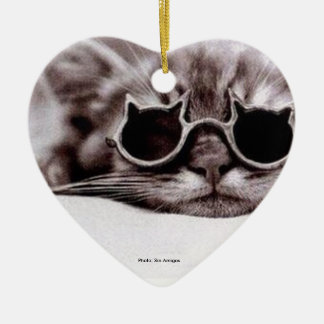Coolest Cat alive - heart-shaped ceramic Ornament