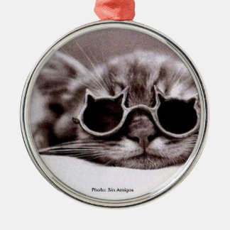 Coolest Cat alive - round Metal Ornament