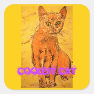 coolest cat art square sticker
