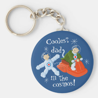 Coolest dad in the cosmos! basic round button key ring