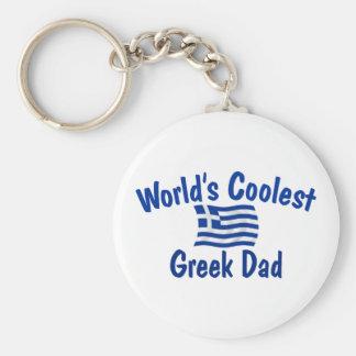 Coolest Greek Dad Basic Round Button Key Ring