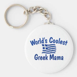 Coolest Greek Mama Basic Round Button Key Ring