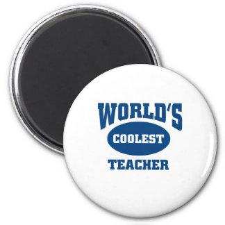 Coolest teacher 6 cm round magnet
