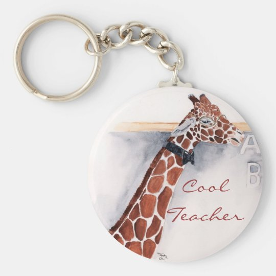 Coolest Teacher Basic Round Button Key Ring