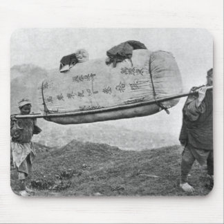 Coolies carrying cotton, 1901 (b/w photo) mouse mat