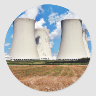 Cooling Towers Of A Nuclear Power Station Round Sticker