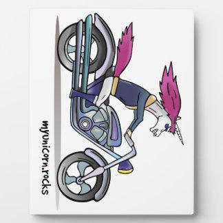 Coolly unicorn on motorcycle - bang-hard unicorn photo plaques