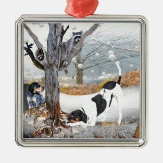 Coon Dog Hunt Silver-Colored Square Decoration