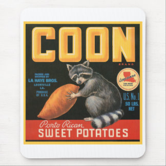 Coon Sweet Potatoes Fruit Crate Label Mouse Pads