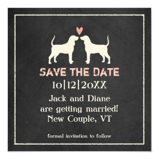 Coonhound Silhouettes Wedding Save the Date 13 Cm X 13 Cm Square Invitation Card