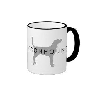 Coonhound (silver grey w/ text) coffee mugs
