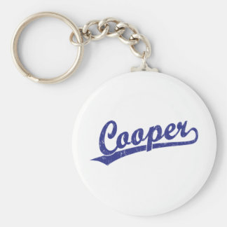 Cooper script logo in blue key ring